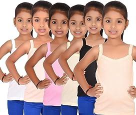 ALOFT Girls Multicolour Plain Cotton Slips/Camisole/Vests - Pack of 6pcs