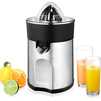 Aicok Citrus Juicer Electric Orange Juicer with 2 Size Cones, Stainless Steel Citrus Press, Anti-Drip Spout, Easy to Clean, BPA-Free, 85W
