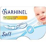 NARHINEL Aspiratore Nasale + 2 Ricambi Soft con Beccuccio Morbido per Aiutare a Liberare il Nasino Delicato del tuo Bambino R