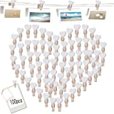 Pinzas de Madera 100 Piezas Mini Pinzas de Foto de Madera Pinzas de Madera Pequeñas Pinzas de Madera Decoración para Foto Tit