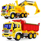 GizmoVine Jouet Camion Pelleteuse Voiture Excavatrice pour Enfant 3 4Ans Benne Vehicule de Chantier Tracteur Grue de…