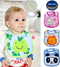Wish key Baby Boy's and Girl's Multicolor Printed Velcro Feeding Bibs (6Months to 2Years) - Set of 3