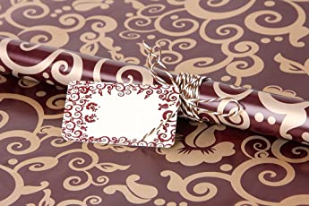UberLyfe Gift Wrapping Paper Sheets with 15 Gift Tags - Brown with Golden Printed - Pack of 10 (24.5 inch x 17.5 inch) - GW-1340