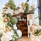 Kit de arco de guirnalda de globos verde salvia, 152 piezas de arco de globos verde oliva con globo de látex blanco Globo de