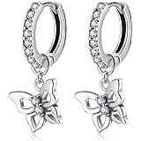 Qings Joyería Serie Mariposa en Plata de Ley 925, Pendientes de Mariposa Collar de Circonita Cúbica Anillos de Animales para