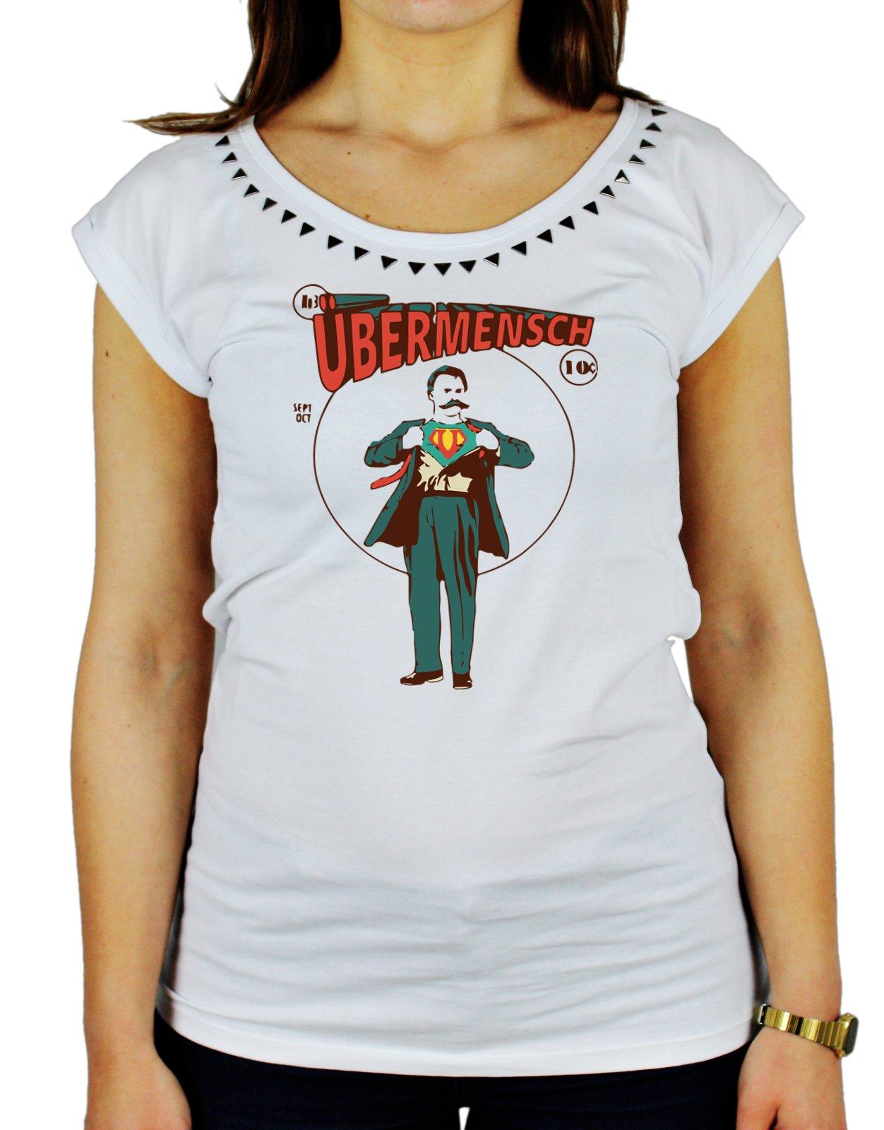 Tshirt da donna con borchie di alta qualità in cotone fiammato ubermensch - Tutte le taglie by Tshi