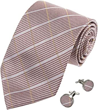 A2033 silver pink checkers gift for holidays silk tie cufflinks Y/&G