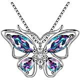 """Aurora Tears Catenina da donna con ciondolo a forma di farfalla con pietre preziose CZ 18"""""""