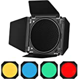 Godox BD-04 Barn Door Barndoor Kit con Rejilla de Panal 4 filtros de Gel de Color para Reflector estándar de 7 Pulgadas de Re