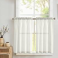 TOPICK Lot de 2 rideaux brise-bise avec motif gaufré - Demi transparent - Pour cuisine, salon, maison de campagne…