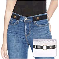 """No Buckle Ladies Elastic Belt for Women Mens Invisible Jeans Pants Dress Stretch Waist Belt up to 48"""" by SUOSDEY"""