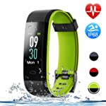 HolyHigh Smart Bands, 115C Fitness Watch IPX68 Waterproof Colorful Screen Heart Rate Sleep Monitor Pedometers Calorie...