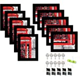 Art Street Wall Photo Frame Black 5x7 Inches Set of 10 Individual Picture Frames with FREE hanging Accessories