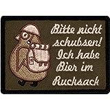 Café Vierhoek® Gelieve niet schuiven Ik heb bier in rugzak - Fun patch met klittenband pinguïn met helm en laarzen - 7 cm x 5
