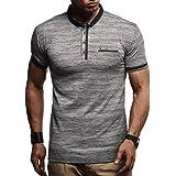 Leif Nelson Herren Sommer T-Shirt Polo Kragen Slim Fit Baumwolle-Anteil Basic schwarzes Männer Poloshirts Longsleeve-Sweatshi