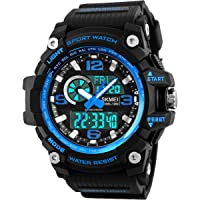 Mens Sports Watch, 5 ATM Waterproof Digital Military Watches with Countdown/Timer/Alarm for Men, Shock Resistant LED Analogue Running Man Wrist Watch - Blue by BHGWR