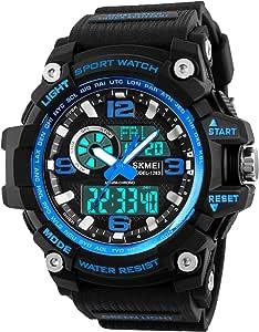 Orologio sportivo uomo, 5atm impermeabile digitale militare orologi con conto alla rovescia/timer/allarme per da corsa, resistente agli urti LED analogico orologio da polso uomo–blu by Bhgwr