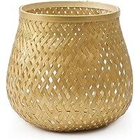 black velvet studio Panier Singapur Bambou, Couleur doré Design tressé, léger et Frais 20x17 cm