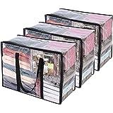 3 Paquet Clair Sacs de Rangement pour Vêtements avec Poignée Renforcée, 55 X 40 X 25 cm, Organisateur de Vinyle pour Couette