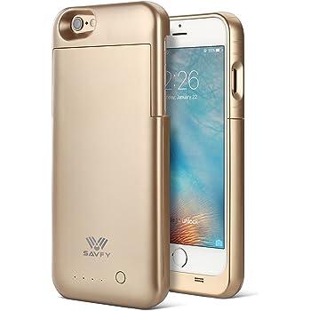 [Certifié MFi Apple] Coque Batterie iPhone 6 / 6s, SAVFY Ultra Fin Coque avec Batterie Externe Rechargeable 3200mAh Li-polymère (130% d'Extension de Batterie de Secours) pour iPhone 6 / 6s [4,7 Pouces], Garantie 18 Mois, Design à Glissière en 2 Parties, Or