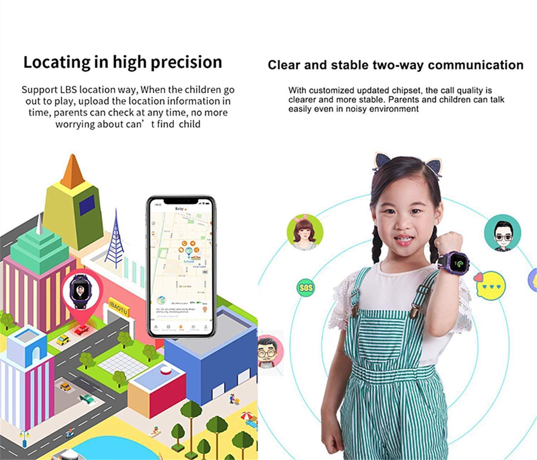 linyingdian Smartwatch Niños,Reloj Inteligente Niños con Flashlight, IP67 LBS SOS, Cámara, Smartwatch con Ranura para… 6