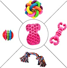 Jainsons Pet Products Dog & Puppy Rubber Chew Toys, Multi Color Ball, and Cotton Bone Chew Toy