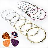Cordes De Guitare Acoustique, Kinbom 2 ensembles de 6 cordes de guitare, 1 paquet d'or et d'argent avec 1 mélange de couleur