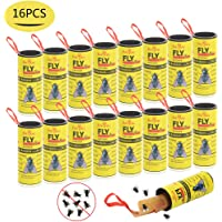 BaiYou Fly Paper Fly Strips Fly Catcher Strips 16 Pack Sticky Fruit Fly Trap for House Indoor Outdoor Use
