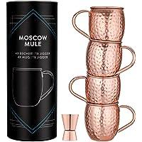 Navaris Mug Moscow Mule - 4X Verre à Cocktail 500ml en Acier Inoxydable et cuivre martelé pour Moscow Mule Alcool…