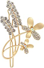 Babies Bloom Antique Golden Rhinestone Leaf Shape Women Brooch ( set of 2)
