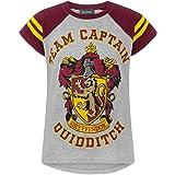 T-Shirt Grigia a Manica Corta Captain Girl Team Quidditch di Harry Potter