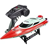 AIWANTO RC Boat Toy, 2.4GHz 4 Channels RC High-Speed Boats, Remote Control Boat for Pools and Lakes large Red