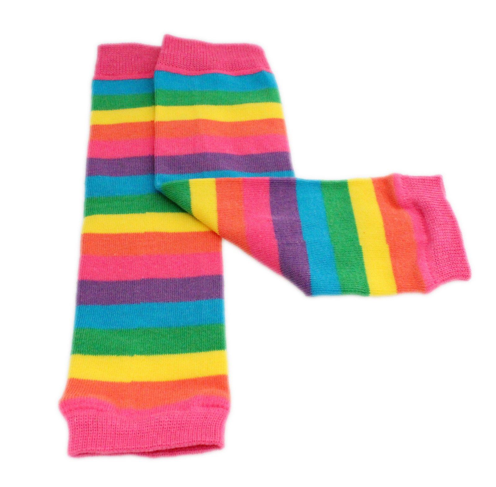 Calentadores de piernas para bebé, diseño de rayas, color rojo y rosa, para niños de 3 meses hasta 8 años 3