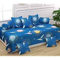 FESTIVAL HOME FURNISHINGS Cotton 400TC Diwan Set (60X90 Inch Bedsheet 16x16inch Cushion Covers 18x28 inch Bolster Covers) Blue Twelve | Slightly Color Change May Be There Because This Is Professional Click |
