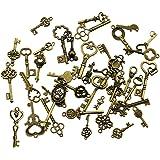 40 Unids Llaves Esqueleto de Bronce Antiguo de la vendimia Encantos Kits de BRICOLAJE para Accesorios Hechos A Mano Collar Co
