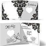 30 x Lasergeschnittene Hochzeit Einladungskarten Hochzeitseinladungen - Rustikal Schwarz Weiß