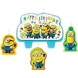 Amscan 9907322 - Mini candele Despicable Me Minions Happy Birthday, 4 pezzi