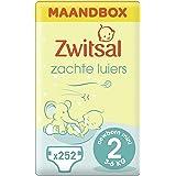 Zwitsal Luier Mini Maat 2 (3-6 kg), met comfortabele en zachte pasvorm - 252 luiers - Maandbox