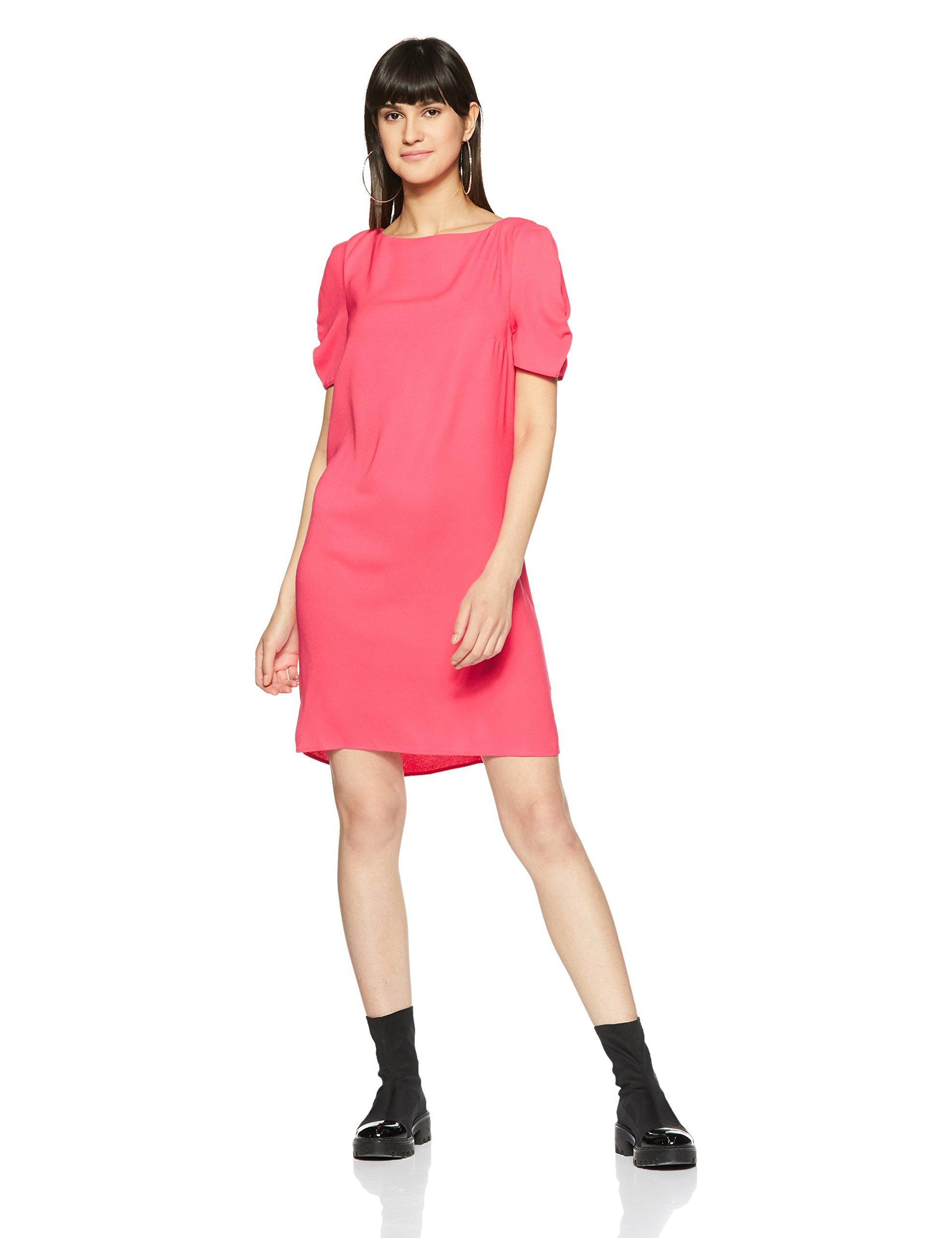 Marks & Spencer Women's Shift Knee-Long Dress (8738_Pink_10)