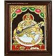 Sandiv Art Gallery 22 Carat Gold Saraswathi Tanjore Hindu Religious Goddess Worship Framed Photo Painting for Wall (12x10 Inc