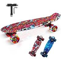 """SGODD Skateboard Bambini, 22""""x6"""" Mini Cruiser Skateboard Completa Retrò con Cuscinetti a Sfera ABEC-11, Skateboard per…"""