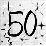 Santex Lot de 20 Serviettes de Table 50 Noir/Blanc