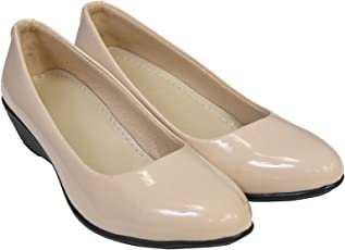 KOMOPT Cream Colour Synthetic Material Casual/Formal Bellies for Women - Formal Belly for Girls with Low Heel