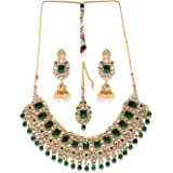 Zaveri Pearls Traditional Kundan & Green Beads Bridal Choker Necklace Set For Women-ZPFK8686