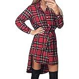 Style Dome Camisas Mujer Blusas Manga Larga Vestidos Invierno Franela Plaid Blusa Vestido Jersey Tartán con Cinturones Vestid