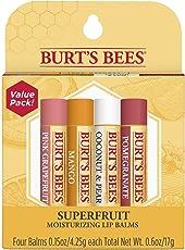Burt's Bees Superfruit - Pink Grapefruit, Mango, Coconut, Pear, Pomegranate Moisturizing Lip Balm (Multicolour, 9285002578) - Pack of 4 Tubes
