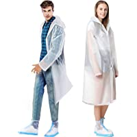 TATAFUN Waterproof Portable Raincoat,Clear and Reusable Rain Resistant Poncho with Hoods and Sleeves for Travel…