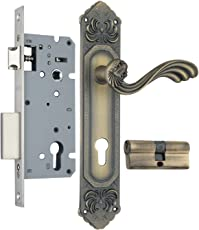 Emu Zinc Mortise Handle Lock Set with Matte Antique Brass Finish (ZZL0809MAB)