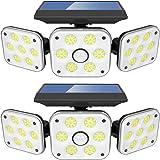LITAKE Luz Solar Exterior 3 Cabezas, 138 LED Lámpara Solar Exterior con Sensor de Movimiento 3 Modos de Iluminación IP65 Impe