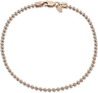 Amberta Gioielli - Bracciale - Placcato Oro Rosa da 14k - Catenina Argento Sterling 925 - Modelli Differenti - Lunghezza: 18 19 20 cm